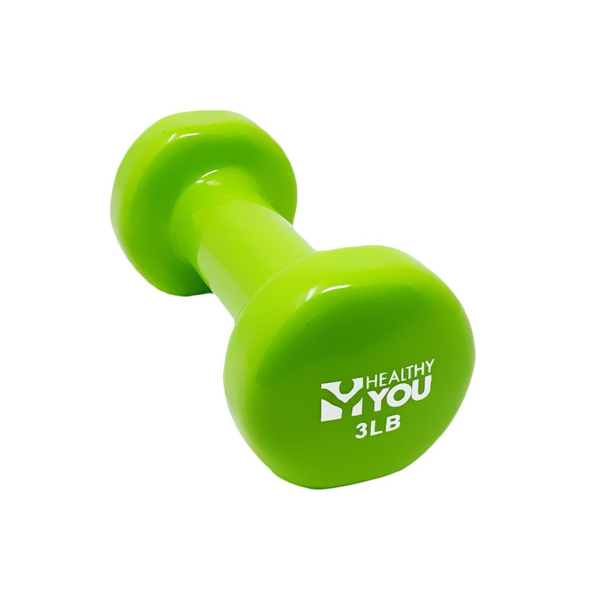 Healthy You™ Vinyl Coated Dumbbell 3 lb Light Green