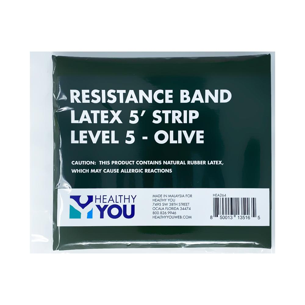 Healthy You™ Latex Resistance Band 5' Band - Level 5 Olive